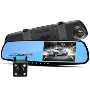 free shipping 4.3'' 1080P Dual Lens Car Auto DVR Rearview Mirror Car camera Dash Cam Recorder+Rear View Camera Kit