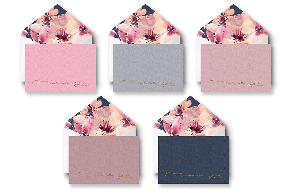 Myway luxury elegant custom logo printing blank 300gsm greeting card thank you card custom with logo envelopes/birthday cards