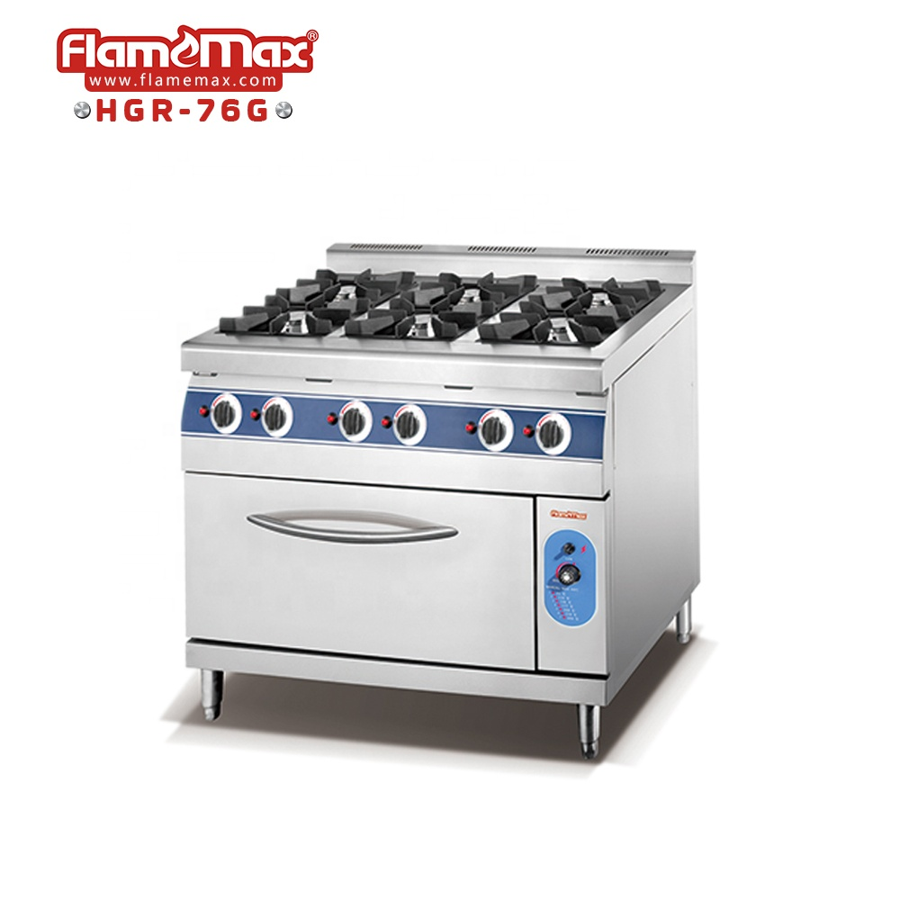 HGR-4G Heavy duty cooking equipment gas range/commercial Hotel 4 burners gas cooker with oven
