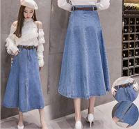 Wholesale spring 2019 Korean version retro jeans long high waisted a line skirt