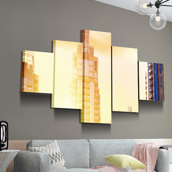 yellow building modern wall home decoration can be hung canvas wall decor art prints
