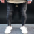 Men's Stretchy Ripped Skinny Biker Jeans Taped Slim Fit Denim Pantsmotorcycles wrinkles Bermuda pants Knee Hole Jeans Patch