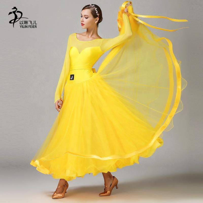 fcfdffecb892 International Standard Ballroom Dance Dress Lyrical Dance Costume Dress  Women Long Ballroom Dancing Dress