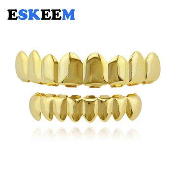 a96c11a4193fc Хип хоп Bling украшения для тела Бесплатная золотые зубы Grillz 8 Зубы Топ  дно поддельные рот