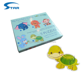 5 In a box My first Custom Animal Shape Baby Puzzle