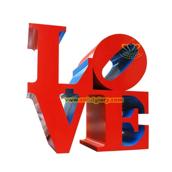 Garden Ornament Stainless Steel Outdoor Red letter Love Sculpture