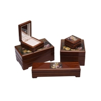 Full extension beautiful custom wooden jewelry for necklace box wholesale set packaging