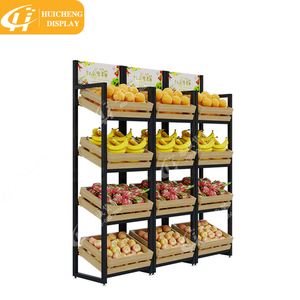 Factory direct 4 layers wooden fruit vegetable display rack