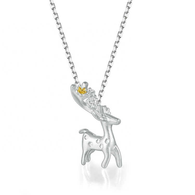 <strong>Cheap</strong> Wholesale Fashion Jewelry S925 Sterling Silver Chain Plated <strong>Cute</strong> Deer Elk Pendant <strong>Necklace</strong> For Girl Birthday Gift NY070