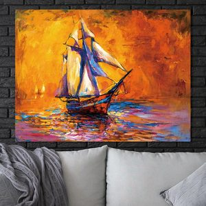 wall art canvas fabric oil painting on canvas ship abstract painting canvas print wall art