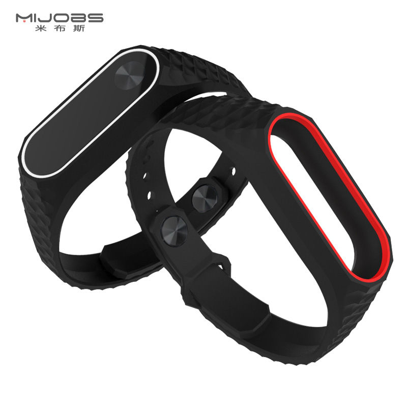 Watch Accessories Trend Mark Waterproof Bracelet For Xiaomi Miband 2 Black Replacement Soft Tpu Red Watch Straps 220mm Wriststrap Smart Watch Accessories High Quality