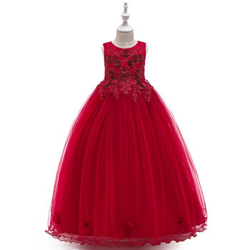 2019 Fancy little girls lace dresses puffy party dresses for kids long girls ball gown flower dresses