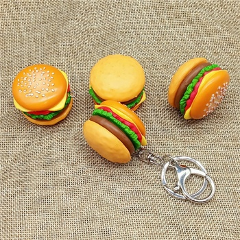 OEM Creative simulation hamburger keychain /DIY handmade accessories resin food mobile phone keychain