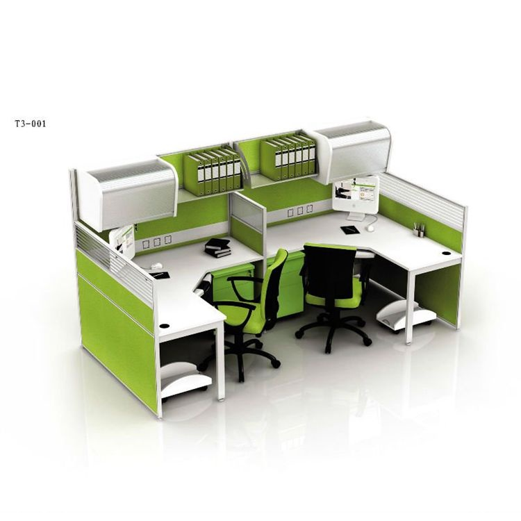 Modern Multi Functional Office Furniture Executive Computer Desk Workstaton With Filing Cabinet And Aluminium Parion Screen