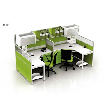 Modern Multi Functional Office Furniture Executive Computer Desk Workstaton With Filing Cabinet And Aluminium Parion