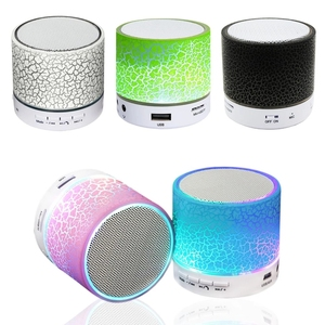 Get free samples electronics 2019 portable multimedia music mini speaker with led light fm radio usb sd card reader