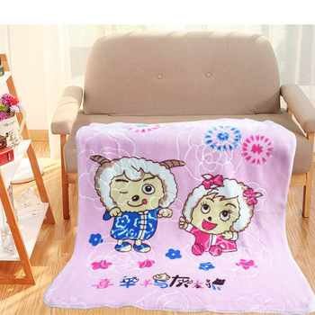 Super soft custom printed plaid throw flannel coral fleece cartoon baby blanket