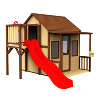 Outdoor backyard large Children House Garden play house Kids Wooden Playhouse With Plastic Slide