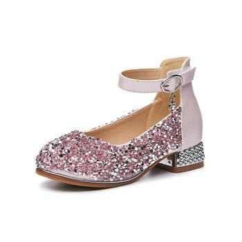 6ef77e0193c3 YY10355S 2019 New arrival girls kids high heel sequin dress shoes ...
