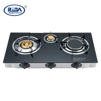 Tempered Glass top 3 burner Gas cooker China gas stove cooktop