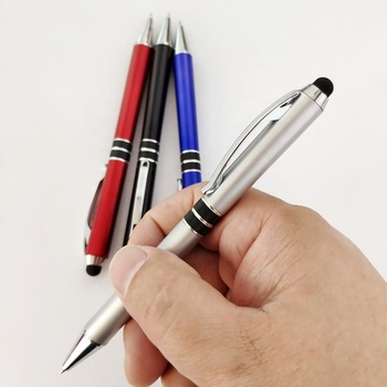 new promotion twist stylus ball pen with  rings grip