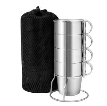 Stainless Steel Insulated Cups Coffee Cups, Double Layer Heat Insulation, Set of 4