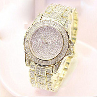Wholesale hot sale custom alloy hiphop iced out gold full diamond bling bling watch for men