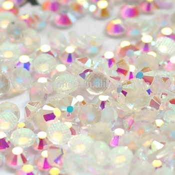 0726  Bulk price 10SS 3mm Lead Free Iron on heat transfer crystal Clear AB hotfix flatback beads for wedding dress