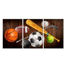 3 stuk Canvas Wall Art Basketbal American Football Baseball Voetbal Tennis <span class=keywords><strong>Hockey</strong></span> Ballen Foto Prints Vintage Sport Kunstwerk