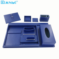 Luxury Blue Business Table Organizer PU Leather Office Desk Set