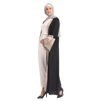 Lace 2019 New Fashionable Islamic Clothing Black Bottom Abaya Casual Suit Muslim Maxi Jubah