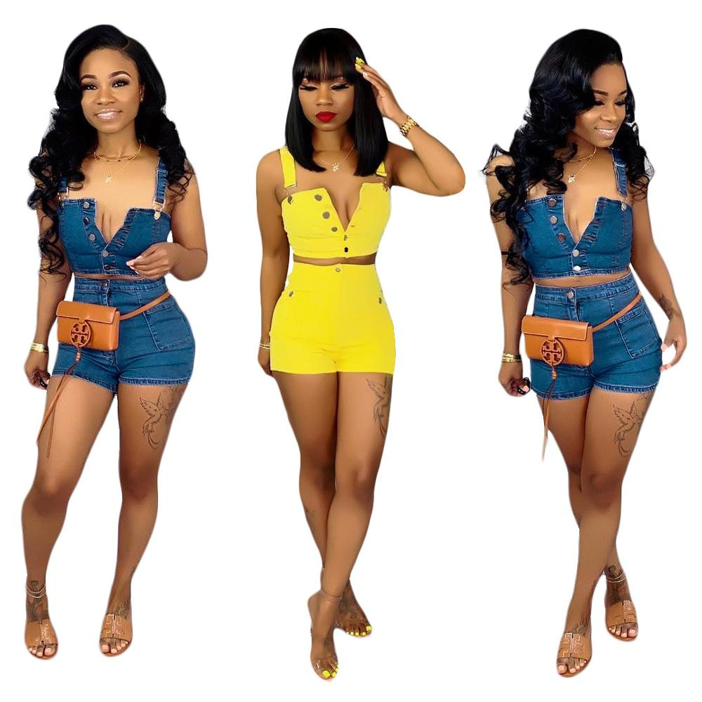 hot selling S6112 fashion shorts and crop top denim jeans outfit 2 piece set women