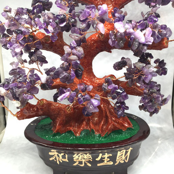 Handmade Natural Amethyst Stone Fortune Crystal Tree Feng Shui