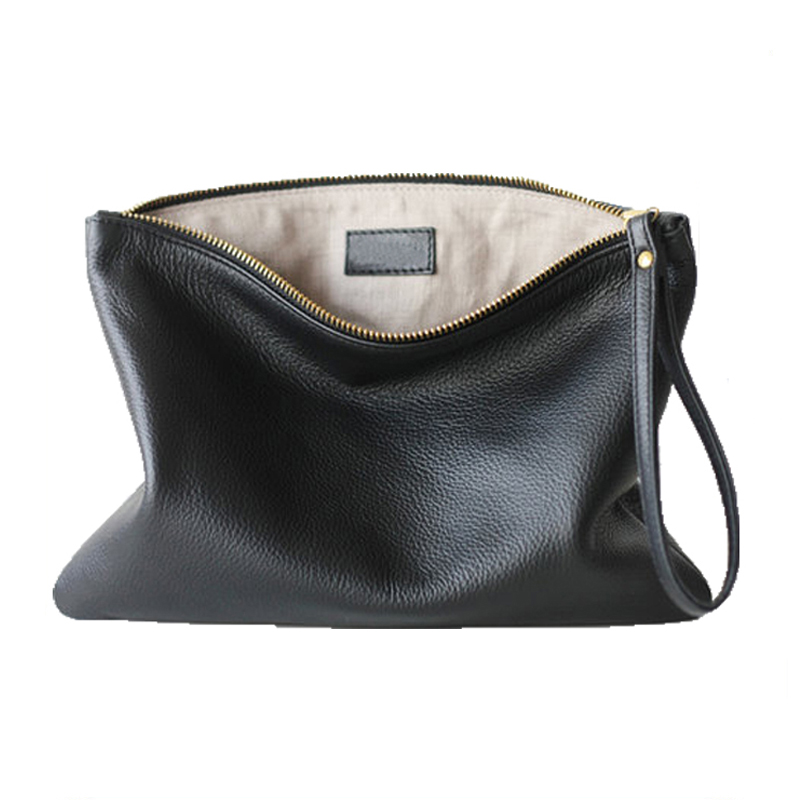 genuine <strong>leather</strong> <strong>clutch</strong> bag high quality smooth skin pouch for women hand bag <strong>clutch</strong> with wristlet