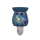 Hand made Bule Mosaic household electric wax melter tiny night light aroma burner
