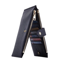 Customized Rfid Blocking Wallet Women Double Long Zipper Leather Bifold Wallet For Women Ladies Purse