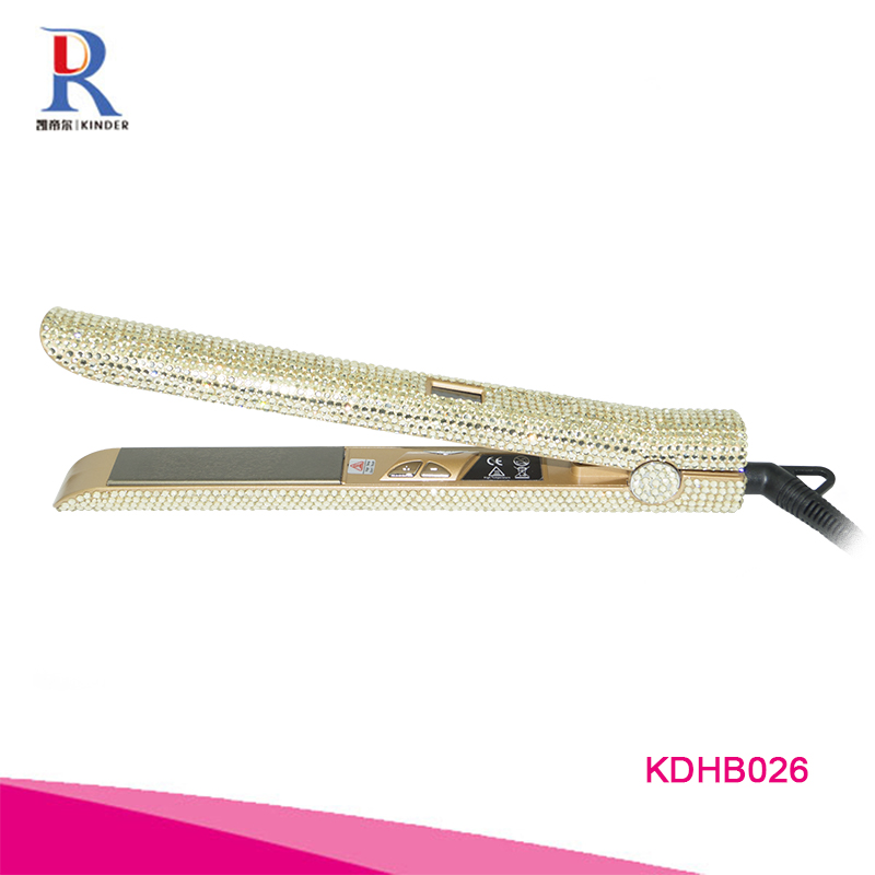 2019 most updated design hair straightener bling bling professional crystal hot tools hair straighteners 240v flat iron