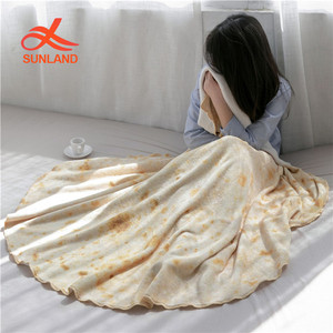 W55801 Comfort LightweightRound Beach Towel Novelty Tortilla Wrap Soft Burrito Tortilla Blanket