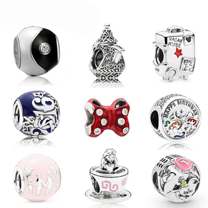 100% 925 Sterling Silver 1:1 Birthday amily Fun Castle Balloon Charm Bow Teacup Tai Chi Suitcase Beaded Limited Edition