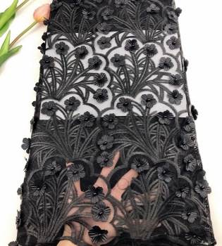 Nigeria fabric black 3d flower lace embroidered fabric net beaded african French lace fabric