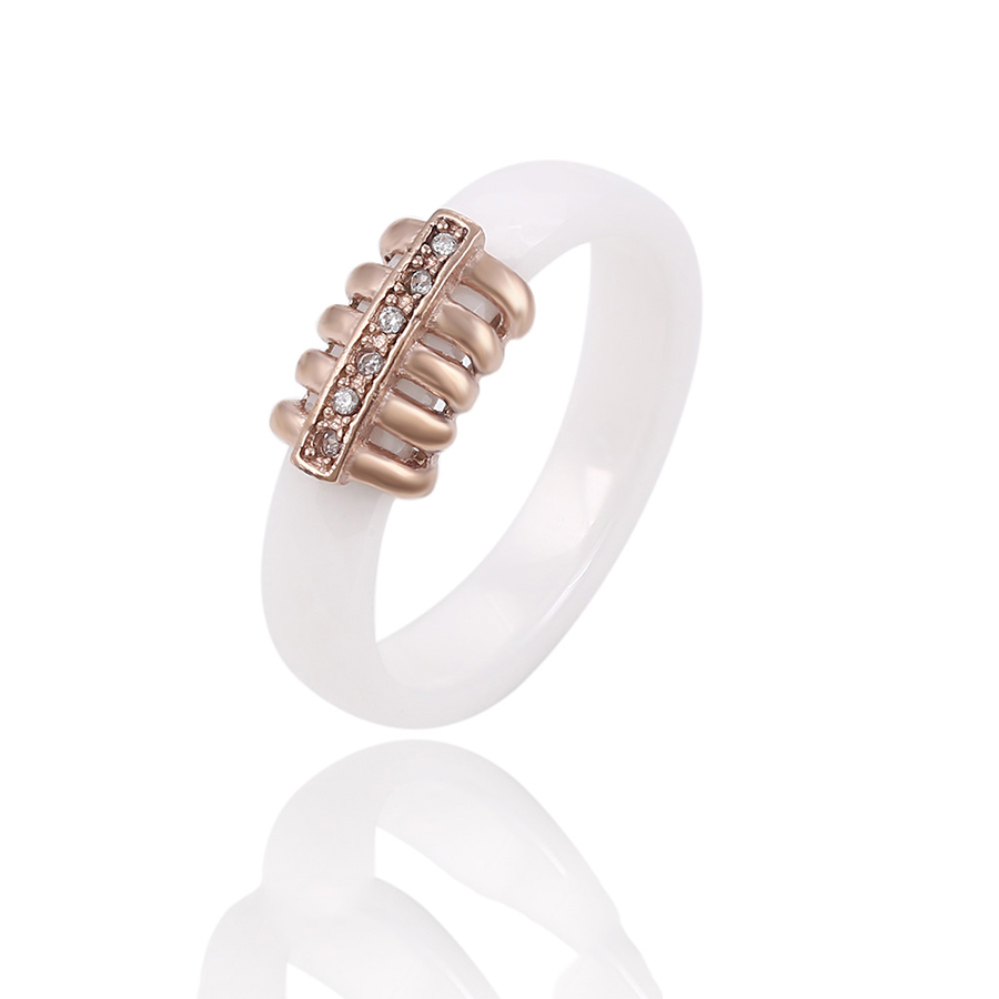 13919 Xuping Jewelry unique rose gold color rib skeleton pattern diamond ceramic ring