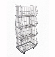 wholesale removable four tiers metal wire grocery storage display rack