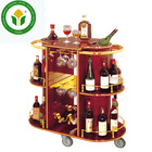 Hotel guest room 3 tier wooden wine bar trolley wine trolley liquor service trolley
