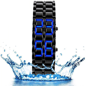 Free Shipping Lava Black Silver Alloy Stainless Watch For Men Men's Watch Lava Metal Red Blue LED Wrist Watch