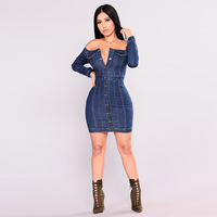 18331 good quality Button down denim dress off shoulder jeans dress for women