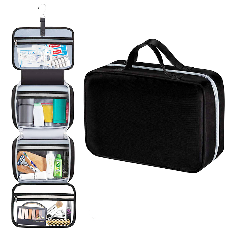 hanging travel size toiletry bag for storage <strong>cosmetics</strong> 4 layers with portable handle
