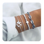 Silver Plated Fashion Charms Beads Rope Bracelet Set Map Cowrie Paua Shell Bracelet For Women