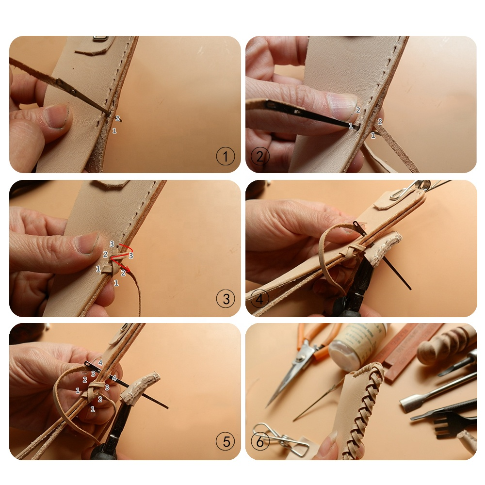 RTS DIY leather Sewing Craft Tool Leather Knitting Needle Double Hole Leather Rope Lace Needle