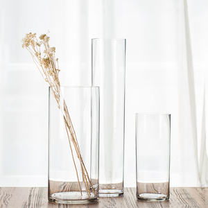 Wedding Decoration Hand Blown Restaurant Table FloorFlower Tall Cylinder Clear Glass Vases