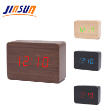 Jinsun Smart USB Lampu <span class=keywords><strong>Alarm</strong></span> Clock Persegi Kayu <span class=keywords><strong>Jam</strong></span> Meja LED Digital Clock